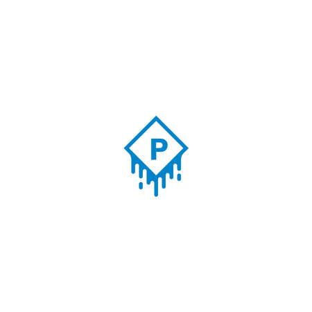 Letter P  logotype in blue color design concept illustration Ilustração
