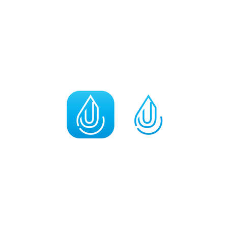 Drop water U logo letter design concept in blue gradient color 일러스트