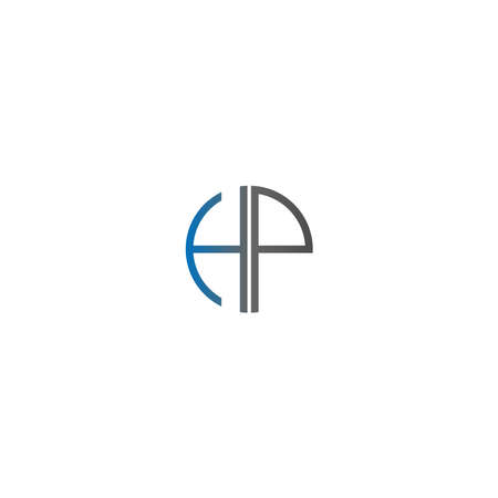 Circle HP logo letters design concept in gradient blue and black colors 일러스트