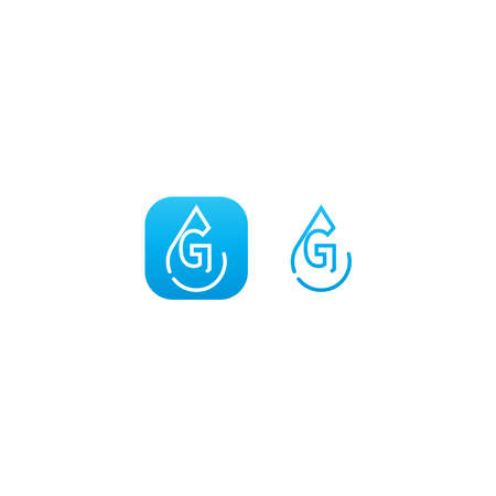 Drop water G logo letter design concept in blue gradient color