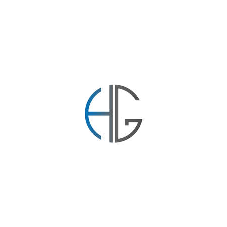 Circle HG logo letters design concept in gradient blue and black colors 일러스트