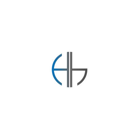 Circle Hh logo letters design concept in gradient blue and black colors