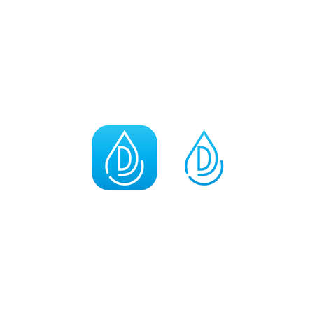 Drop water D logo letter design concept in blue gradient color
