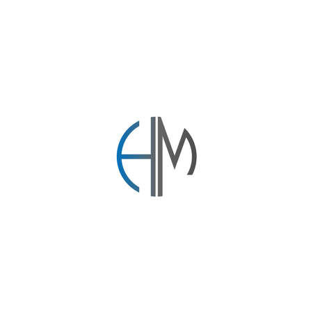Circle HM logo letters design concept in gradient blue and black colors