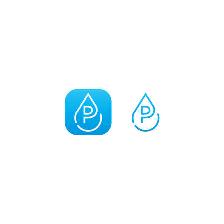 Drop water P logo letter design concept in blue gradient color