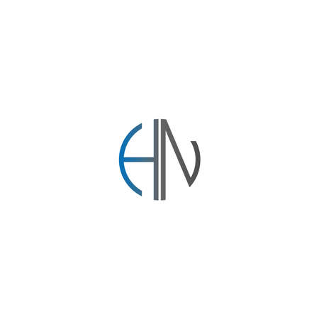 Circle HN logo letters design concept in gradient blue and black colors