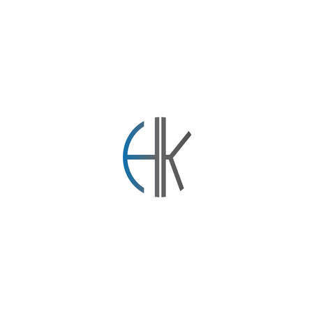 Circle HK logo letters design concept in gradient blue and black colors
