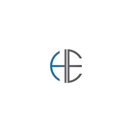 Circle HE logo letters design concept in gradient blue and black colors
