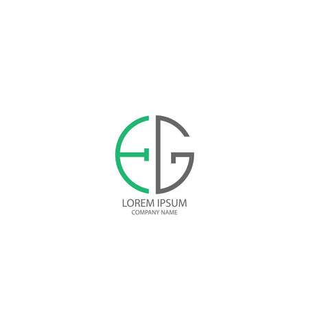 Circle EG logo letter design concept in orange and black colors Logó