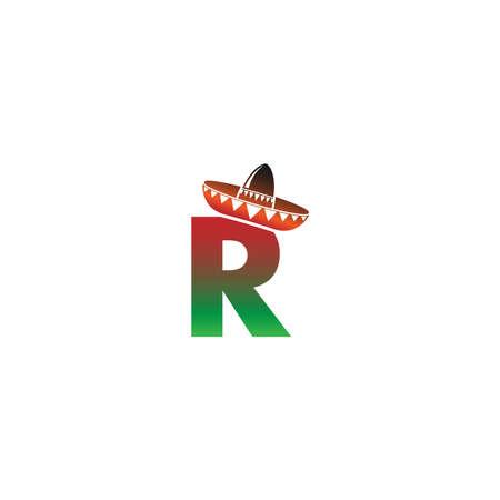 Letter R Mexican hat concept design illustration