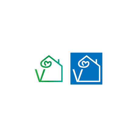 Letter V house with love icon logo template