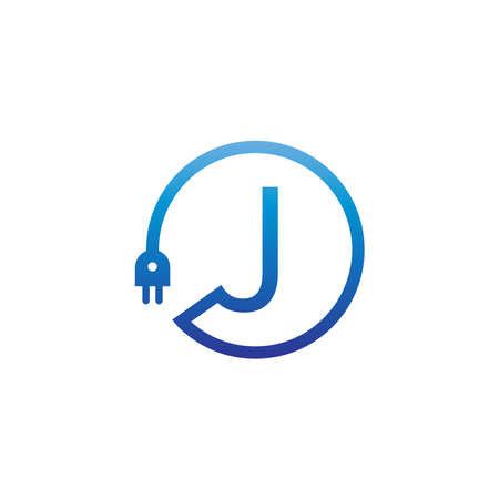 Power cable forming letter J logo icon