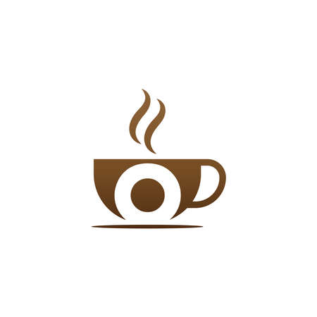 Coffee cup icon design letter O concept