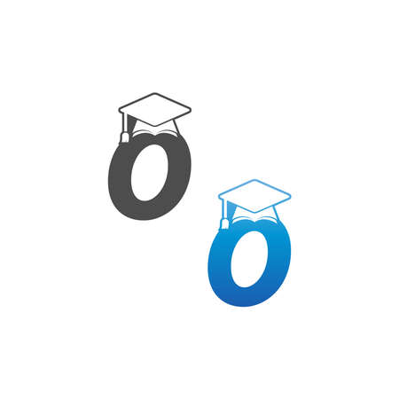 Letter O graduation cap concept design template