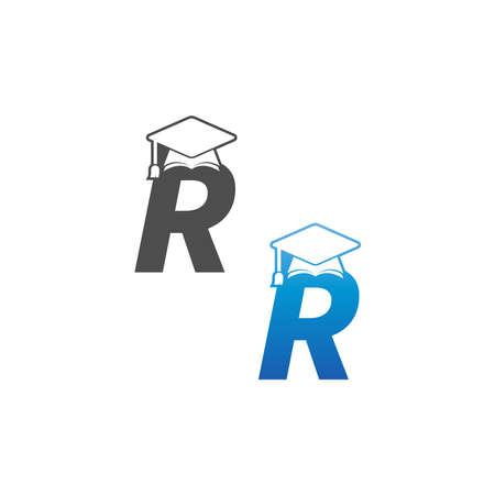 Letter R graduation cap concept design template Vektoros illusztráció