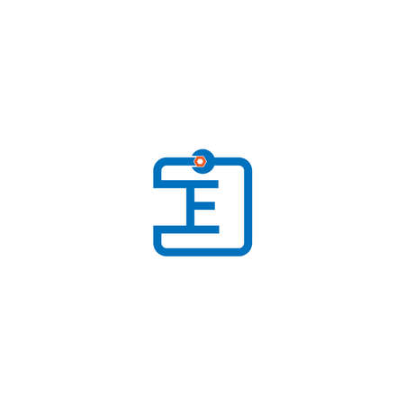 Letter E  logo icon forming a wrench and bolt design concept 向量圖像