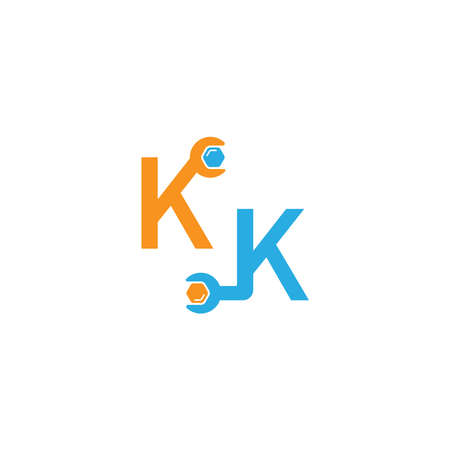 Letter K  logo icon forming a wrench and bolt design concept 向量圖像