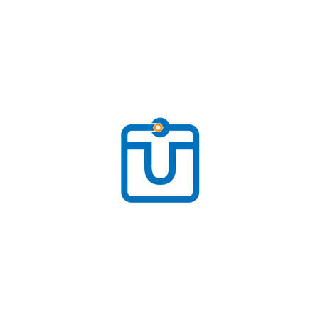 Letter U  logo icon forming a wrench and bolt design concept