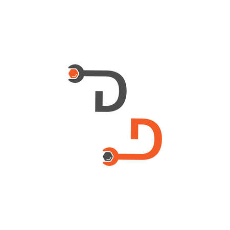 Letter D  logo icon forming a wrench and bolt design concept