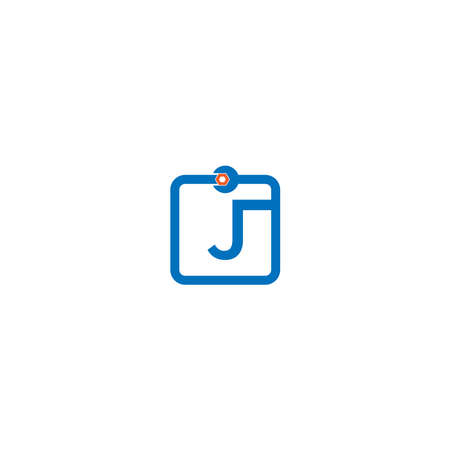 Letter J  logo icon forming a wrench and bolt design concept