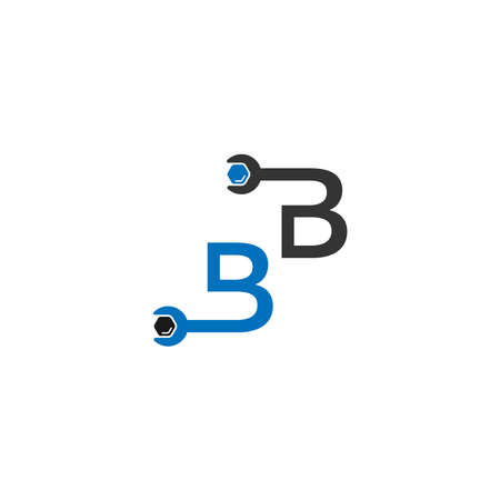 Letter B  logo icon forming a wrench and bolt design concept