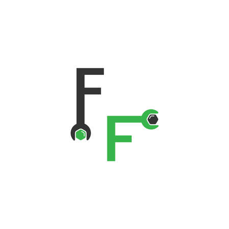 Letter F  logo icon forming a wrench and bolt design concept