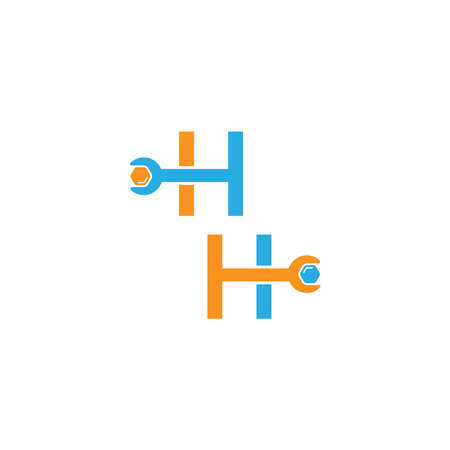 Letter H  logo icon forming a wrench and bolt design concept 向量圖像
