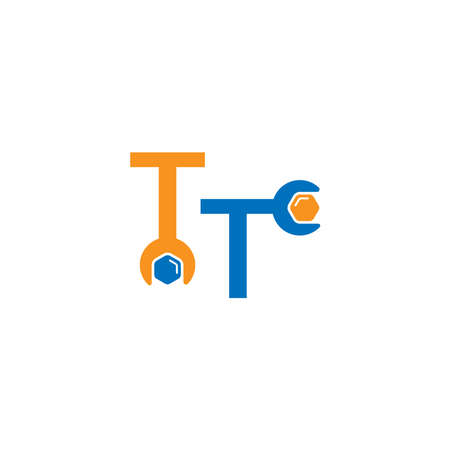 Letter T  logo icon forming a wrench and bolt design concept