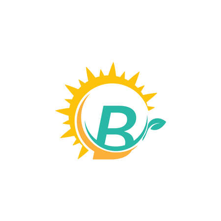 Letter B icon logo with leaf combined with sunshine design concept