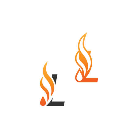 Letter L and fire waves, icon concept design template