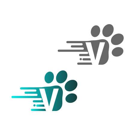 Letter V icon on paw prints logo design