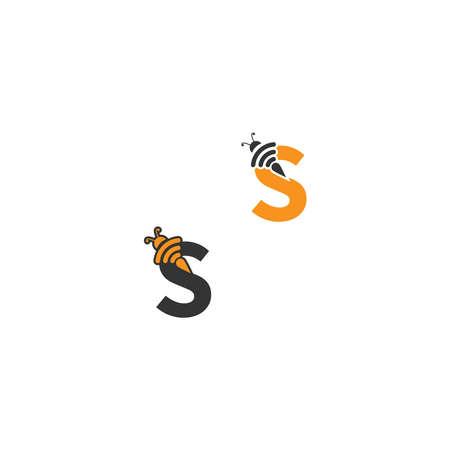 Letter S bee icon  creative design illustration Çizim