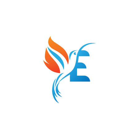 Letter E combined with the fire wing hummingbird icon design