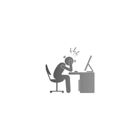 The condition of a man working hard at the computer