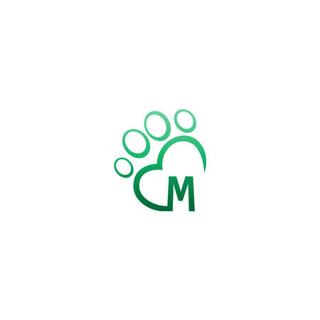 Letter M icon on paw prints   design