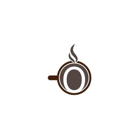 Coffee cup icon design letter O logo concept template