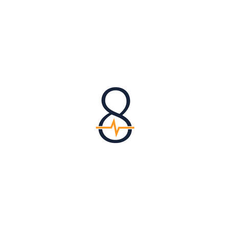 Number 8 icon logo combined with pulse icon design template