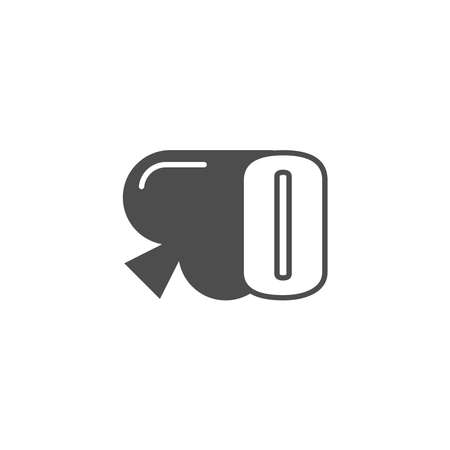 Letter O logo combined with spade icon design vector