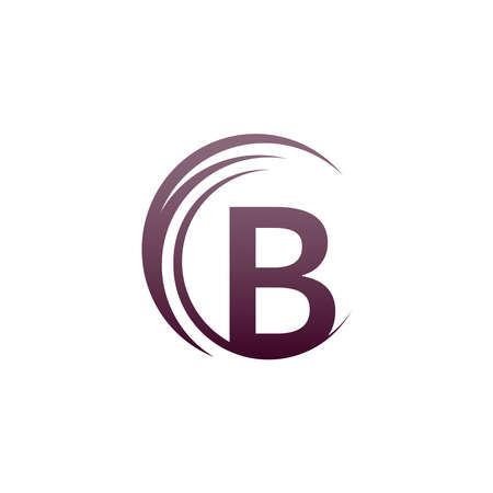 Wave circle letter B logo icon design illustration