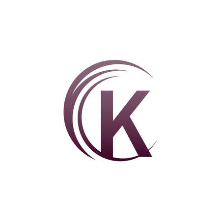 Wave circle letter K logo icon design illustration