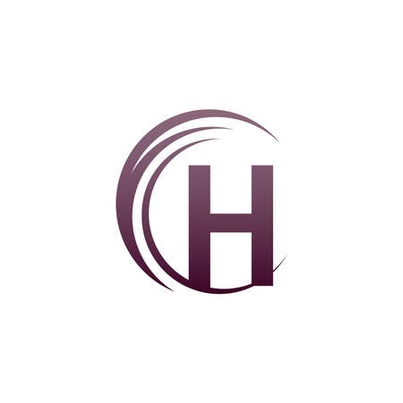 Wave circle letter H logo icon design illustration