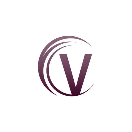 Wave circle letter V logo icon design illustration