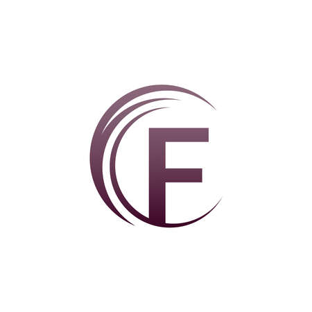 Wave circle letter F logo icon design illustration