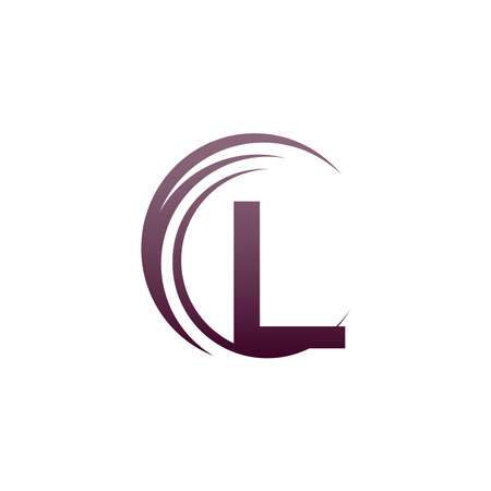 Wave circle letter L logo icon design illustration