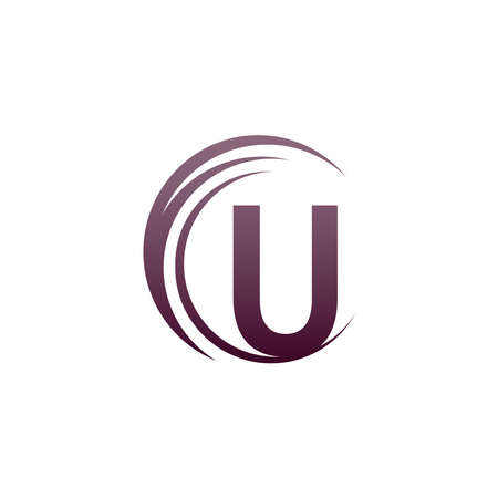 Wave circle letter U logo icon design illustration