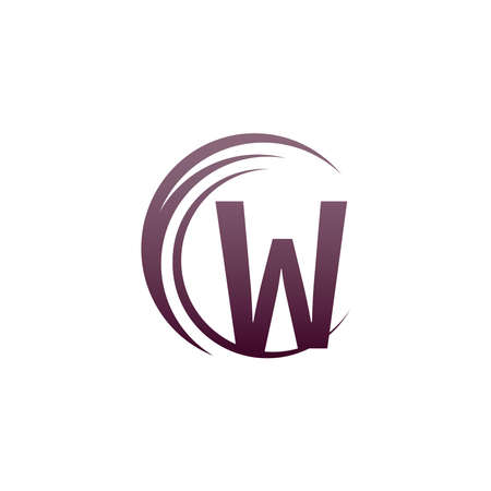 Wave circle letter W logo icon design illustration