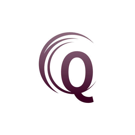 Wave circle letter Q logo icon design illustration