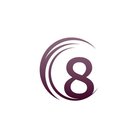 Wave circle number 8 logo icon design illustration