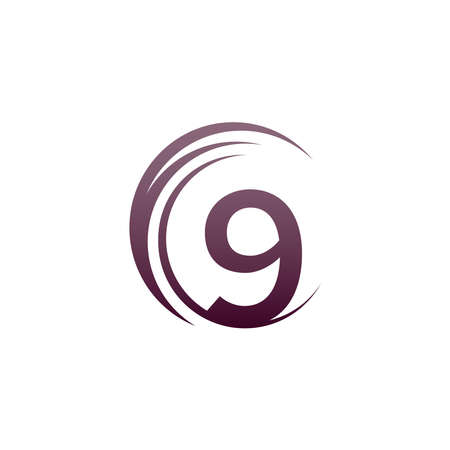 Wave circle number 9 logo icon design illustration