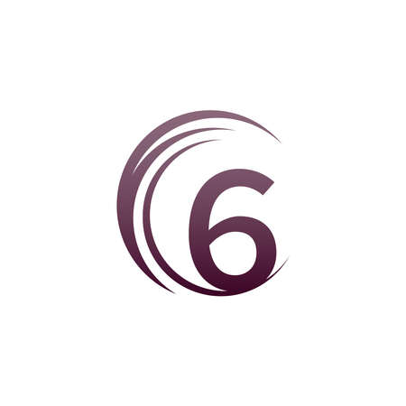 Wave circle number 6 logo icon design illustration